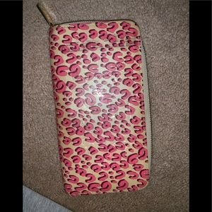 Louis Vuitton pink cream cheetah zip wallet